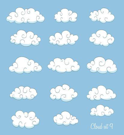 nubes caricatura: Conjunto de nubes de dibujos animados lindo con remolinos. vector Vectores