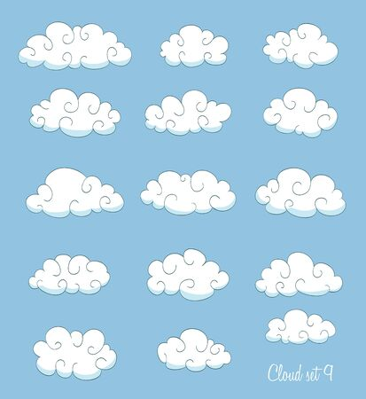 clouds cartoon: set of cute cartoon clouds with swirls. vector Illustration