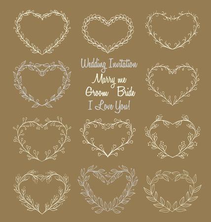 hand getrokken kransen in hartvorm frame op bruine achtergrond. doodle vectorillustratie