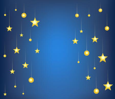 fantasy background: falling stars on blue night background. cartoon vector illustration