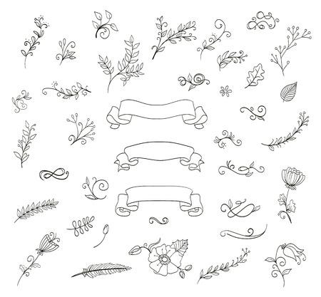 conjunto de elementos de diseño floral. doodle de guirnaldas, flores, hojas, cintas. vector