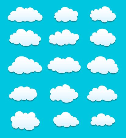 white clouds: set of cute white clouds with shadows. vector