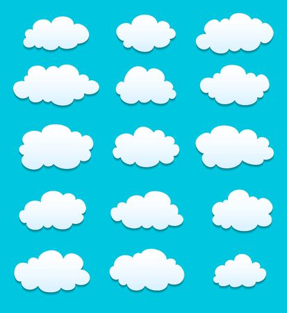 white clouds: set of white clouds with shadows. vector