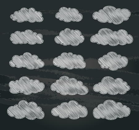 set of cute white clouds on chalkboard. vector