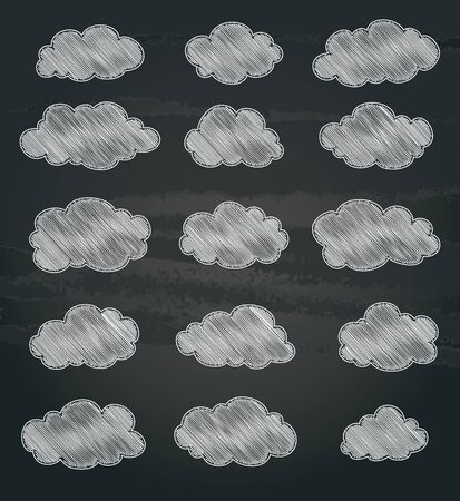 chalk drawing: set of white clouds chalk drawing. vector