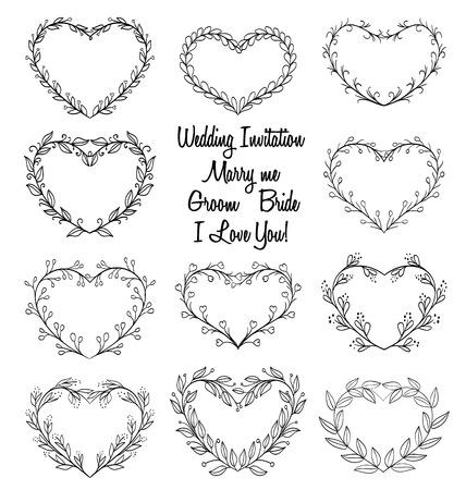 handgetekende kransen in hartvorm frame. doodle vector illustratie