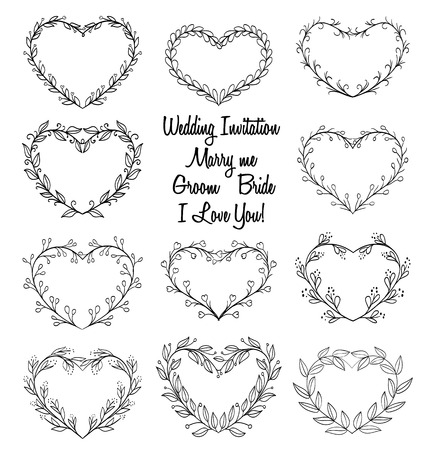 hand drawn wreaths in heart shape frame. doodle vector illustration