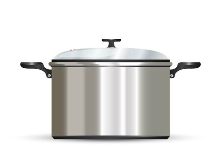 stockpot: vector pot on white background