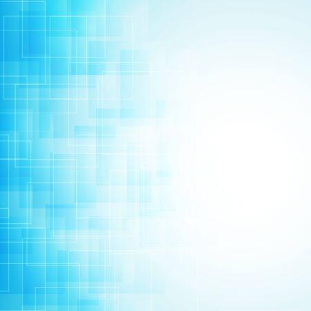 Abstracte blauwe achtergrond met transparante lijnen en vierkanten. vector Vector Illustratie