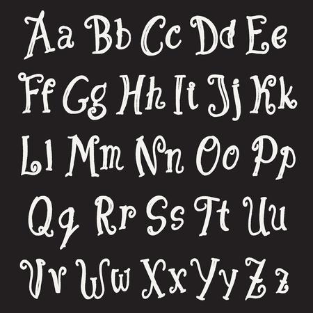studying classroom: chalk alphabet set. vector