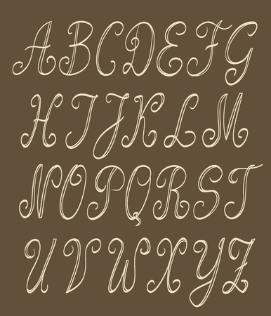 uppercase: abc set. handwritten uppercase letters on brown background. vector