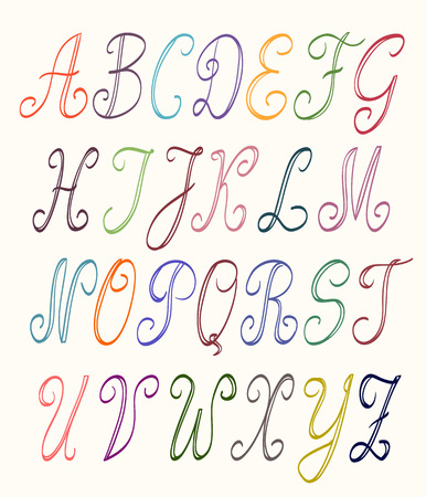 scripts: abc set multicolor uppercase letters