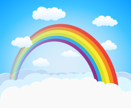 skies: cartoon sky with rainbow and clouds. vector horizontal background with space for text