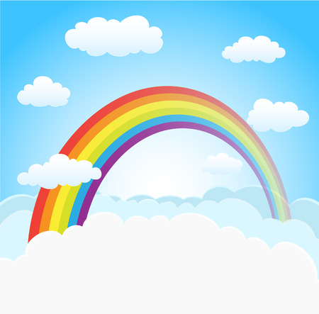 skies: cartoon sky background with rainbow and clouds. vector