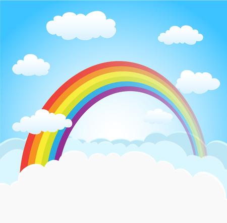 arc en ciel: dessin animé fond de ciel avec arc en ciel et les nuages. vecteur