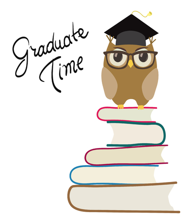 cute cartoon owl with eyeglasses and graduation cap on books. isolated on white vector Vectores