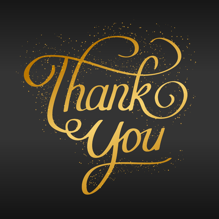 thank you hand lettering hand drawn text. golden on black with glittering particles. vector design template