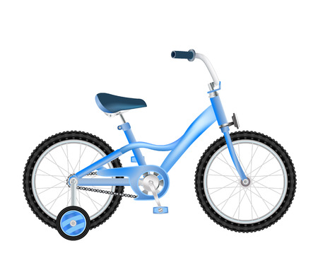 infantile: realistic children bicycle with basket on white Illustration
