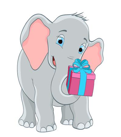 babyolifant met een geschenk. cartoon vectorillustratie