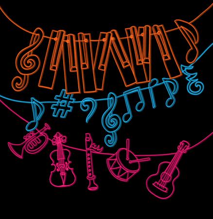 clave de fa: dibujado a mano instrumentos musicales, llaves del piano, notas musicales colgando de la cuerda. color con la versión negro. vector