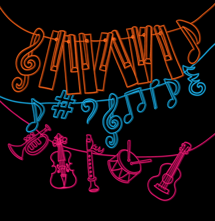 key: hand drawn musical instruments, piano keys, musical notes hanging on rope. color on black version. vector Illustration