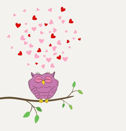 a twig: cute owl in love dreaming with hearts on a twig. vector