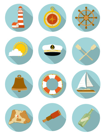 captain boat: set of nautical icons with shadow. vector illustration