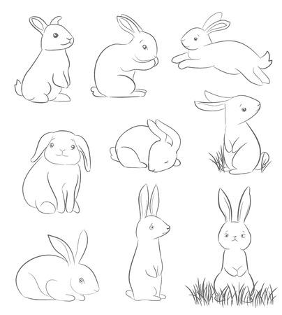 rabbits: set of cute cartoon rabbits. line art vector drawing