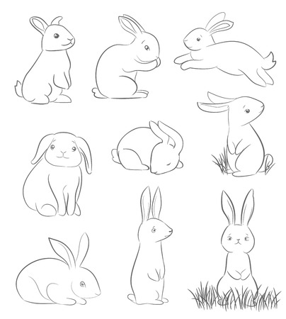 set of cute cartoon rabbits. line art vector drawing