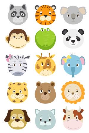 head of animal: cute cartoon animals faces set. vector illustration