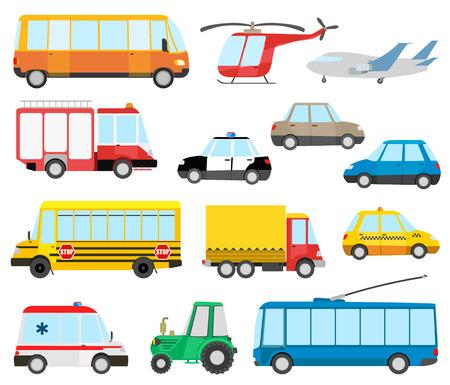 cartoon fire: set of cartoon transport. Illustration