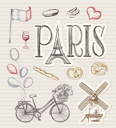 european: hand drawn paris symbols. Illustration