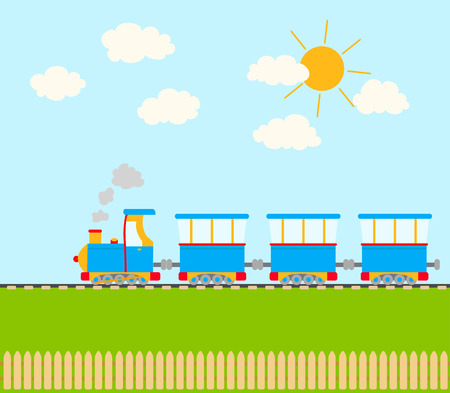 baby playing toy: cartoon train on railroad. sky with clouds and sun, a fence. vector Illustration