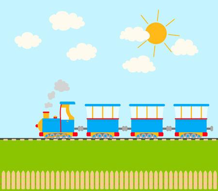 nubes caricatura: tren de dibujos animados en el ferrocarril. cielo con nubes y sol, una cerca. vector