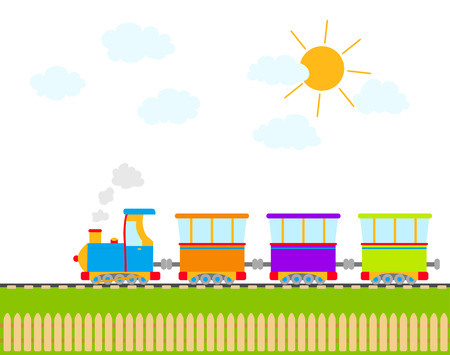 baby playing toy: cartoon train on railroad. vector