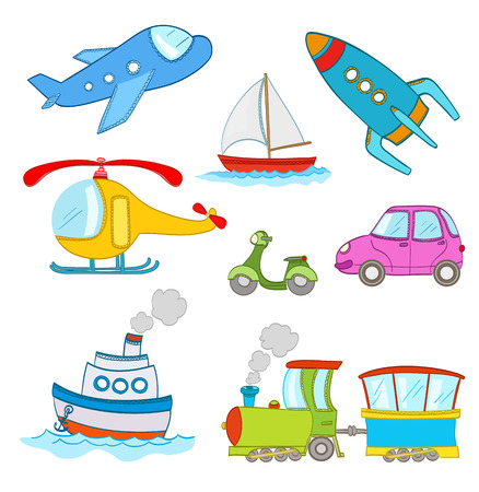 steamship: set of cartoon transportation on white. steamship, airplane, car, boat, train,helicopter, rocket.vector