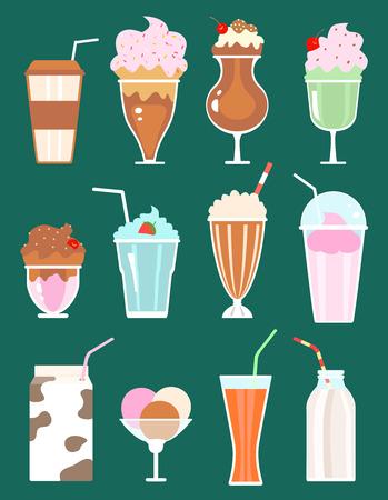 set of milkshakes with berries, milk beverages, ice cream. vector
