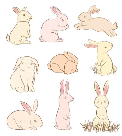 Set von niedlichen Kaninchen Zeichnungen auf weiß.