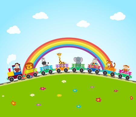 railroads: cartoon train on railroad with jungle animals and rainbow.