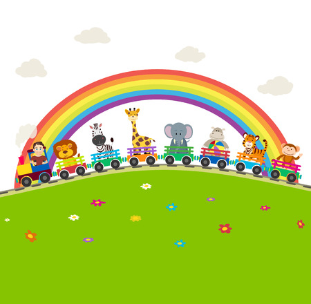 Cartoon railway train with jungle animals with rainbow background. 矢量图像