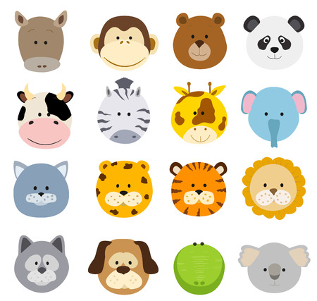 Set of cartoon animals faces. Vector collection of cute jungle and other baby animal faces