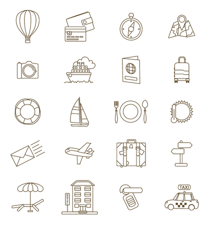 hotel rooms: travel thin line icons set