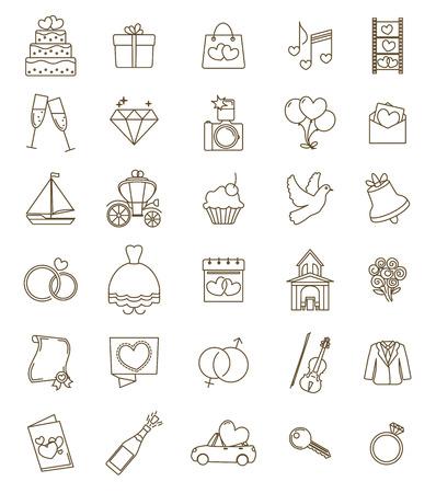 Dunne lijn iconen bruiloft set. Outline met verstelbare beroerte. Verloving en huwelijk ceremonie accessoires, voorwerpen, symbolen. Vector