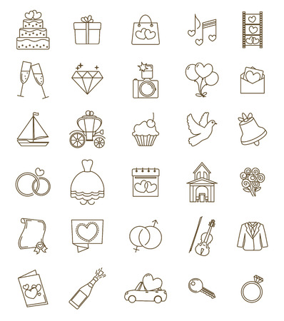 Thin line icons wedding set. Outline with adjustable stroke. Engagement and marriage ceremony accesories, objects, symbols. Vector