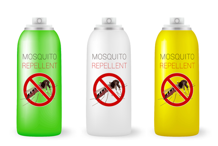 insect repellent: Set of mosquito repellents on white. Vector