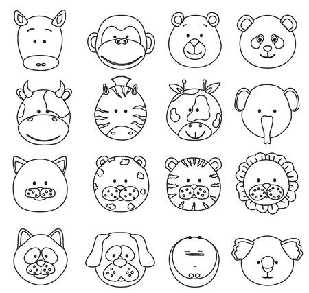 Conjunto de animales de dibujos animados se enfrenta a iconos de líneas finas. Colección de vector de la selva linda y otras caras de animales bebé