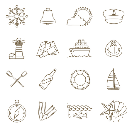 thin shell: set of thin line nautical icons. outline vector with adjustable stroke width. vector illustration Illustration
