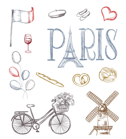 french bakery: paris symbols. tour eiffel, french bakery, mill, bicycle,flowers, wine glass, balloons, flag