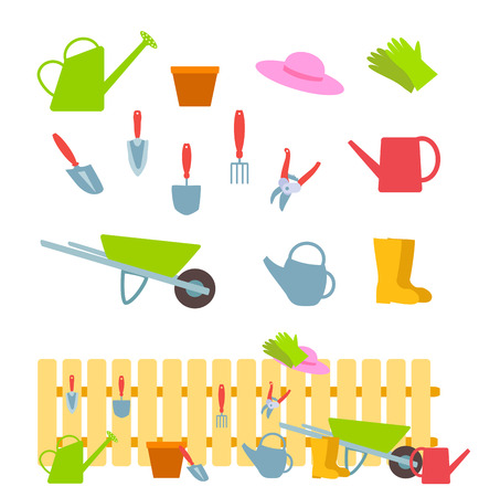 crop sprayer: Set of gardening tools on white and composition with a fence. flat illustration