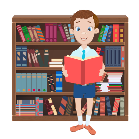 books library: Cartoon illustration with a boy reading a book and library with many books. Illustration